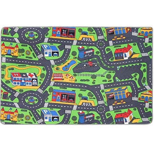 Spielteppich mit Straßen - City, 140x200 cm, Pflegeleicht, Fußbodenheizung Geeignet, Spielmatte,...