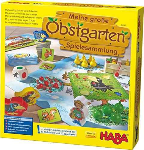 Haba 302282 - Meine große Obstgarten-Spielesammlung, original Obstgarten-Spiel und 9 weitere Spielideen...