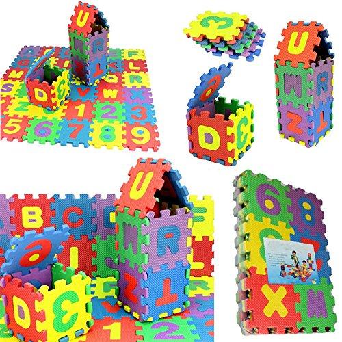 JUSHINI 36 Stück Puzzlematte für Babys Kinder Spielmatte Nummer Alphabet Puzzle Schaum Lernmatte...