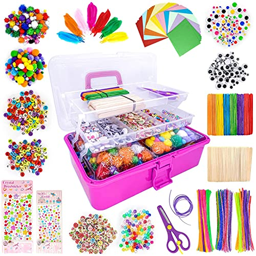 LINAYE 1600+Pcs Bastelset für Kinder Basteln in Bastelbox Gehören Bastelpapier Federn Pfeifenreiniger...