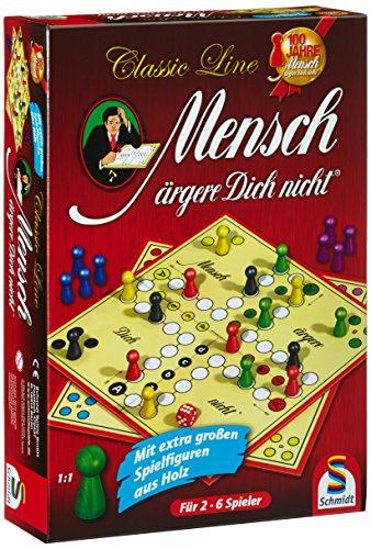 Schmidt Spiele 49085 Classic Line, Mensch ärgere Dich Nicht, mit extra großen Spielfiguren aus Holz,...