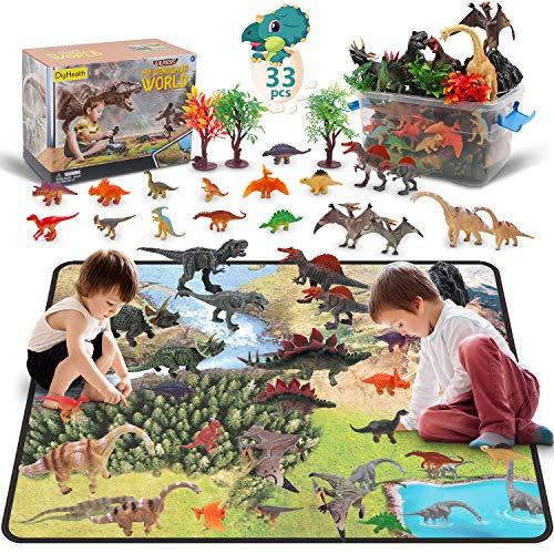 DigHealth 33 Pcs Dinosaurier Spielzeug Set, Figur Dinosaurier mit Aktivität Spielmatten und Bäume,...