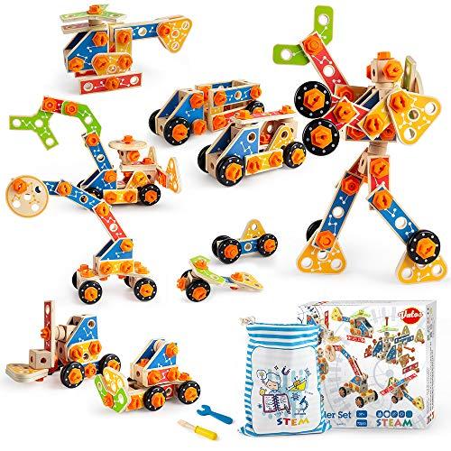 VATOS Holz Konstruktionsspielzeug, Pädagogisches Montessori Spielzeug ab 3 4 5 6 7 8 9 10+ Jahren Junge...