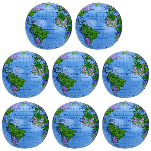 8 Packung Aufblasbarer Erdkugel Inflatable Globe PVC Weltkugel Erde Wasserball 8 Set für den Strand,...