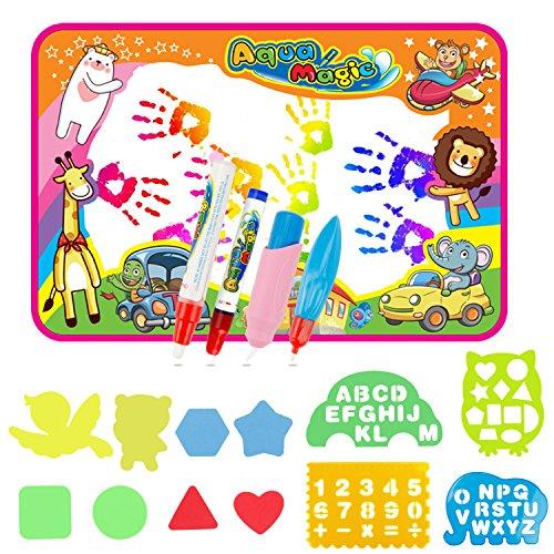 EXTSUD Wasser Doodle Matte Magic Matte 86x57cm Kids Baby Toddler Wasser Zeichnen Matte Toy mit 4 Stiftes...