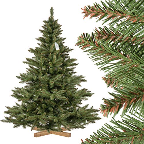 FairyTrees künstlicher Weihnachtsbaum NORDMANNTANNE, grüner Stamm, Material PVC, inkl. Holzständer,...