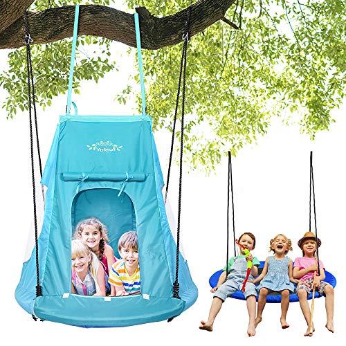 YOLEO 100cm Nestschaukel mit Zelt, Kinderschaukel Gartenschaukel, Tellerschaukel belastbar 150kg,...