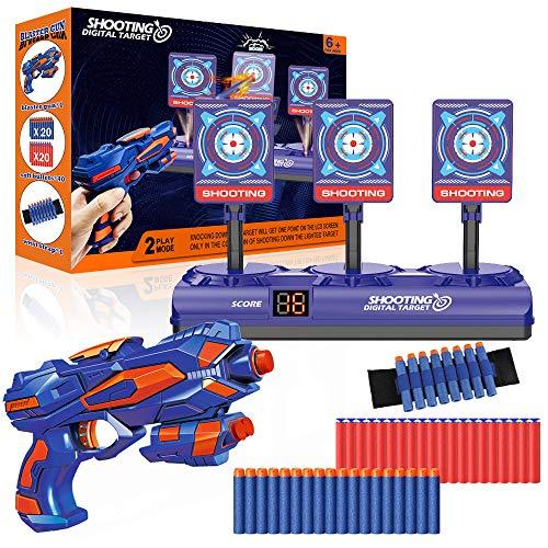 Elektronische Zielscheibe für Nerf Pistole, Digitales Ziel mit Spielzeug Pistole, 40 Schaumstoffpfeilen,...
