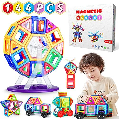 WEARXI Magnetische Bausteine Kinder - 144pc Magnete Spielzeug Kinder, Magnetspielzeug für Kinder,...