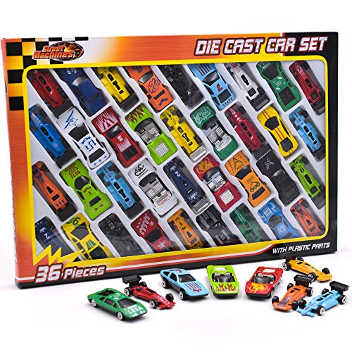 Kids Toy Cars aus Metalldruckguss - 36-teilige Rennwagen, Cabrio Toy Car Pack