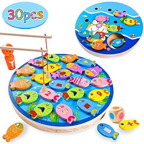 Joy joz 4 in 1 Angelspiel für Kinder, 30 Teile Angeln Holzspielzeug Magnetspiel Montessori Spielzeug...