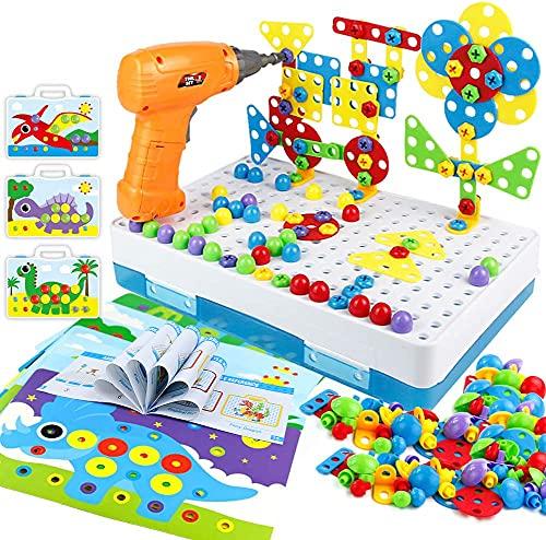 Kinderspielzeug Mosaik Steckspiel Montessori Spielzeug ab 2 3 4 Jahre Bohrmaschine Werkzeugkasten Kinder...