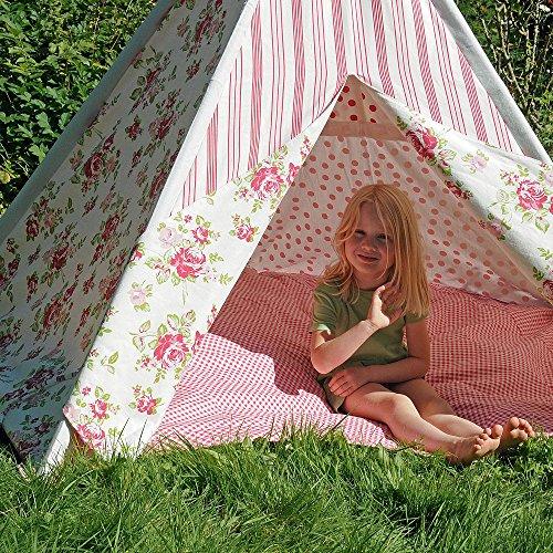 HAB & GUT -ZK001- Teepee - hochwertiges Stoffzelt für Kinder, Blumenmuster pink/Weiss, Höhe 135 cm, 183...