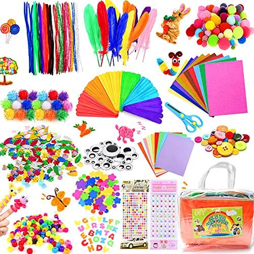 Bastelset Kinder, 1100+ Pcs Bastelmaterial für Kinder in Aufbewahrungstasche, Basteln Kinder ab 4 5 6 7...