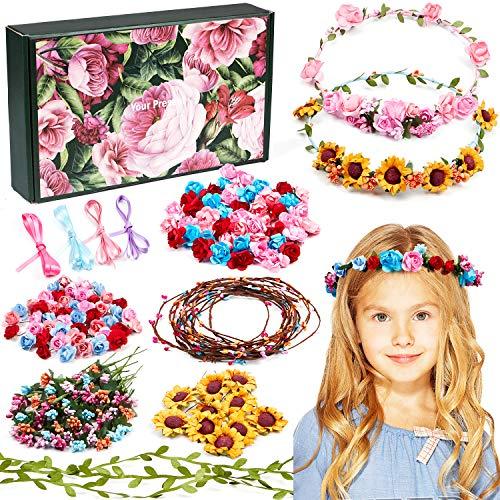Vamei Blumenkranz Bastelset für Kinder Mädchen DIY Haarreif Blumen Basteln Haarschmuck Selber Machen...