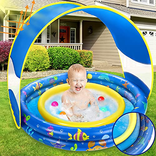 Jojoin Aufblasbares Planschbecken, Sommer Schwimmbad mit Abnehmbarem UV-Schutz Sun Shelter & Einzigartig...