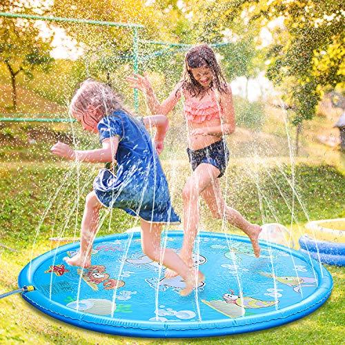 Fostoy Splash Pad, Wasser-Spielmatte Sprinkler und Splash Play Matte Wasserspielzeug Spielmatte Kinder...