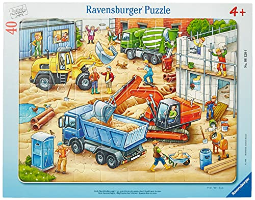 Ravensburger Kinderpuzzle - 06120 Große Baustellenfahrzeuge - Rahmenpuzzle für Kinder ab 4 Jahren, mit...