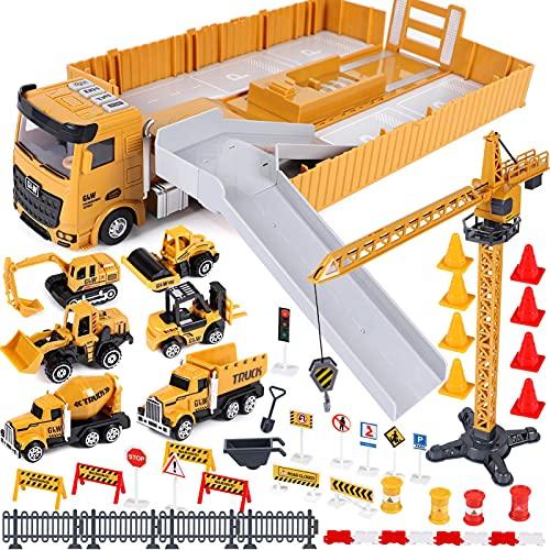 Baufahrzeuge Kinder groß LKW Fahrzeug Spielzeug mit Kran Spielzeug Bagger Dampfwalze Planierraupe...