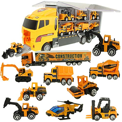 Jenilily 12 in 1 Baufahrzeug Autos Bagger Spielzeug Baustelle LKW Spielzeugautos Transporter...