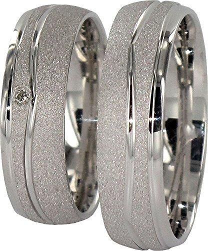JC Trauringe 925er Sterling Silber Paar-Preis I Ehe-Ringe mit kostenfreier Gravur I Partnerringe 6 mm...