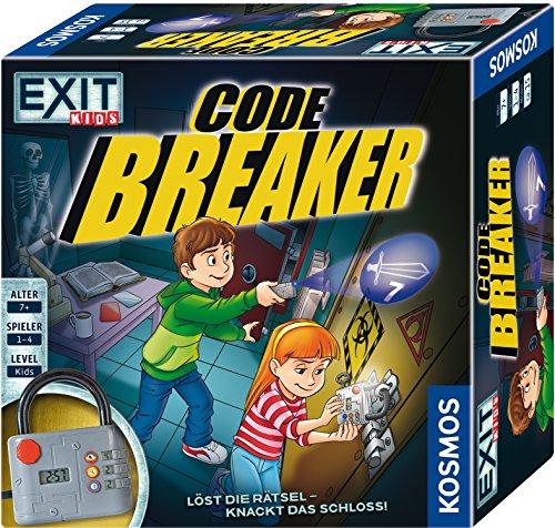 KOSMOS 697921 EXIT Kids-Code Breaker Löst die Rätsel-knackt das Schloss Brettspiel für Kinder, Schwarz