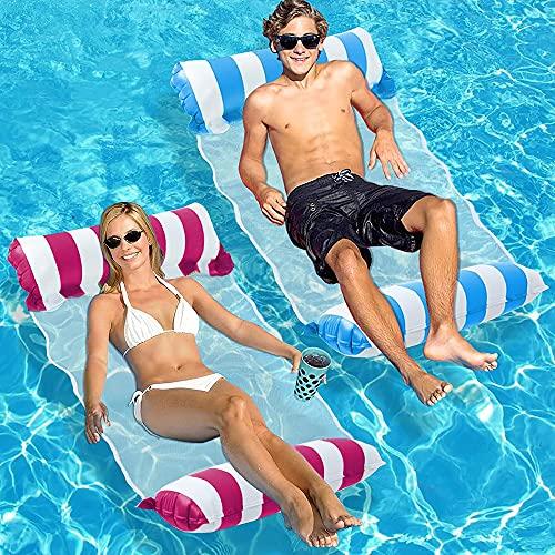 SenluKit 2er Aufblasbares Schwimmbett, Wasserhängematte 4-in-1 Loungesessel Pool Lounge luftmatratze...