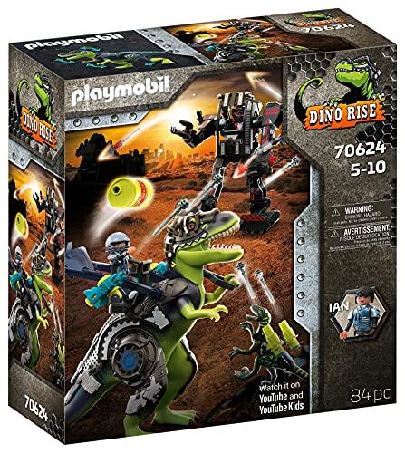 PLAYMOBIL Dino Rise 70624 Gefecht der Giganten: Dinosaurier T-Rex und Deinonychus mit Teammitglied Ian...