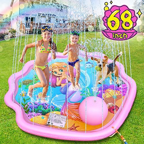LETOMY Splash Pad, 172CM Sprinkler-Spielmatte für Kinder (Shell Mermaid)
