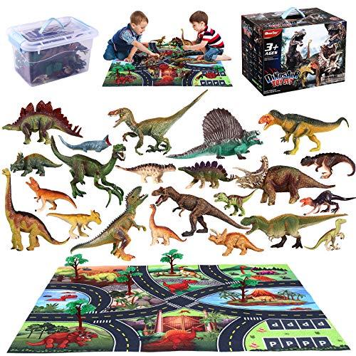 iBaseToy 43 Pcs Dinosaurier Spielzeug Set, Figur Dinosaurier mit Spielmatte, Bäumen und Zäunen,...