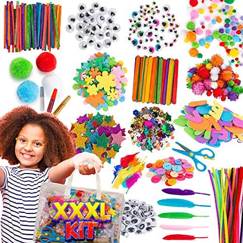 Kunst und DIY Handwerk für Kinder in Aufbewahrungstasche, 1500+Pcs Bastelbedarf für Kinder,...