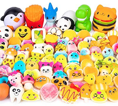 WATINC 50 Stücke Kawaii Squeeze Spielzeug Set Creme Duftenden Tier Essen Toys Anti-Stress Langsam...