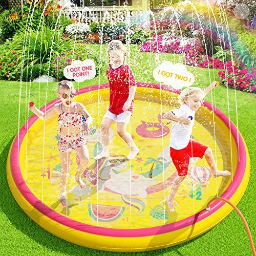 Peradix Splash Pad, 170CM Sprinkler Wasser-Spielmatte Splash Play Matte,Outdoor Sommer Garten...