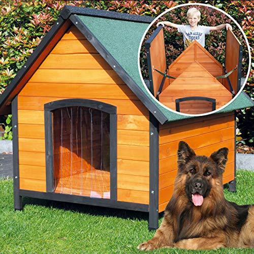 zooprinz wetterfeste Hundehütte Balu- aus massivem Holz und Dach zum Öffnen - perfekt für draußen -...