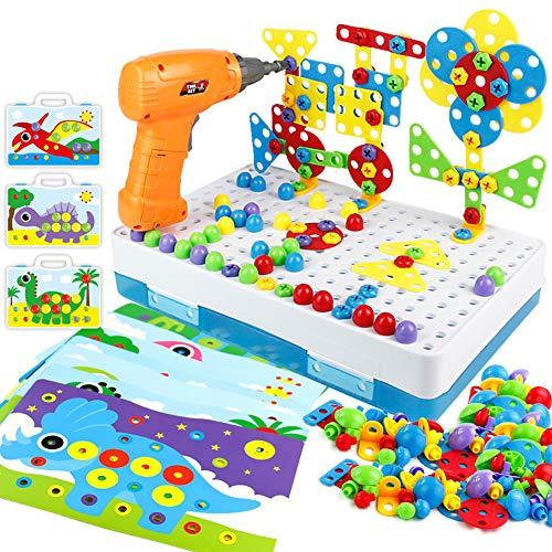 Mosaik Steckspiel Montessori Spielzeug ab 2 3 4 Jahre Bohrmaschine Werkzeugkasten Kinder Pegboard Puzzle...