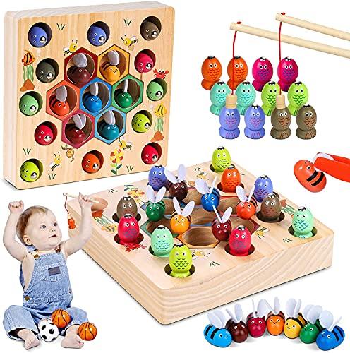 LurcarLE Magnetische Angelspiel Holzspielzeug 2 in 1 Montessori Lernspielzeug Magnettafel Fischspielzeug...