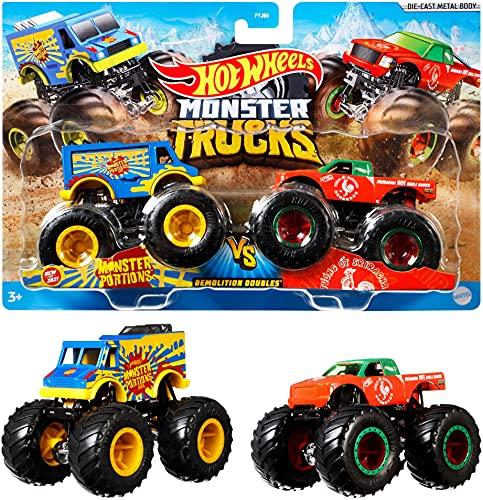 Mattel Hot Wheels FYJ64, Monster-Truck Duos, 2er Packung, Farbe und Modell sortiert