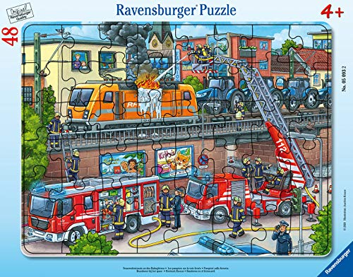 Ravensburger Kinderpuzzle - 05093 Feuerwehreinsatz an den Bahngleisen - Rahmenpuzzle für Kinder ab 4...