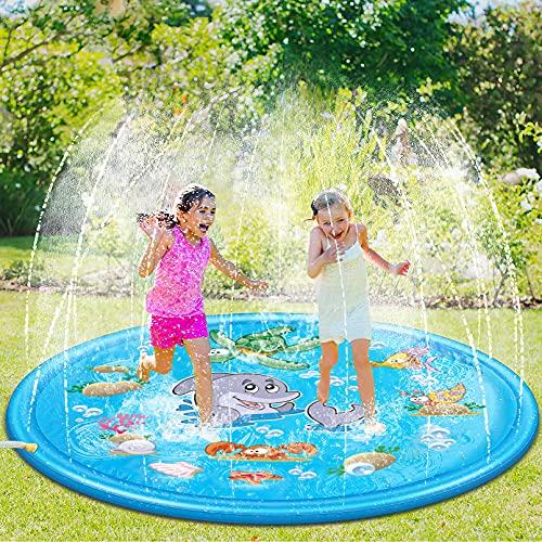 Luchild Splash Pad, 170cm Sprinkler Wasserspielzeug Spielmatte Outdoor Sommer Garten Splash Spielmatte...