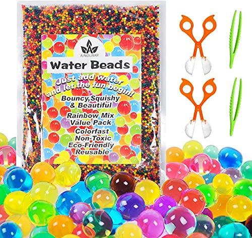 Wasserperlen für Kinder Ungiftig Wasserkugeln Wassergel Kugeln Deko für Blumen Pflanzen und Vasen,...