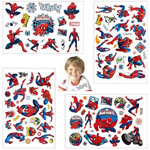 Temporäre Tattoo Set Kinder Tattoos für Spider Man,4 Blätter Superheros Kindertattoos Aufkleber...