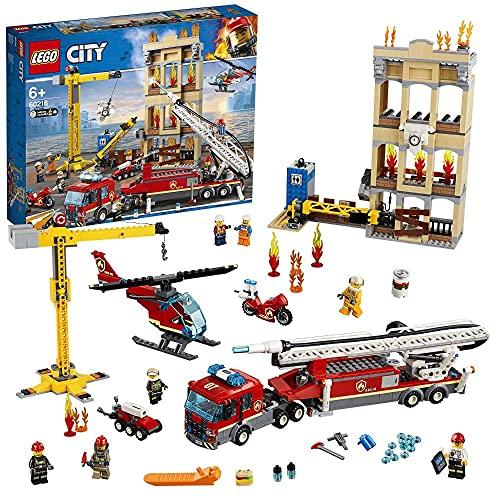 LEGO 60216 City Feuerwehr in der Stadt, Bauset mit Feuerwehrauto, Kran, Hubschrauber, Motorrad und 7...
