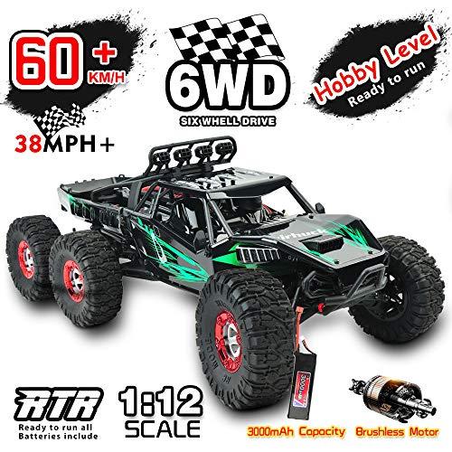 GizmoVine Bürstenlose Ferngesteuertes Auto, 1:12 Hoch Geschwindigkeits RC Auto 6WD 60+ KM / H,...