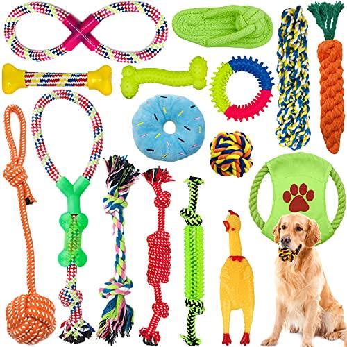 Amzeeniu Hundespielzeug,16 Pcs Seil Ball Hunde robuste Zähne Kauen langlebig Spielzeug Zahntraining Set...