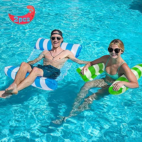 YLSCI Wasserhängematte, 2 Stücke Luftmatratze Pool, Pool Wasserhängematte, Aufblasbares Schwimmbett,...