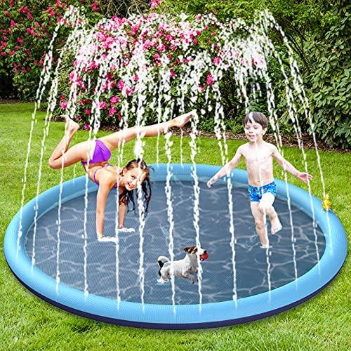 BOIROS Splash Pad wasserspielzeug, 170CM Sprinkler Wasserspielmatte, Splash Play Matte für Baby Party...