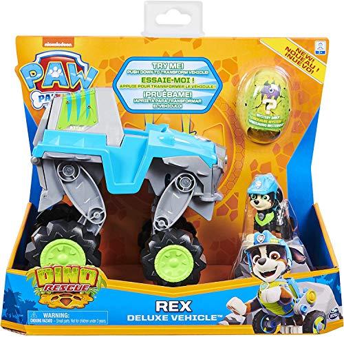 PAW PATROL - 6059329 - Kinderspielzeugspiel - Fahrzeug + Deluxe Rex Dino Rettungsfigur Figur