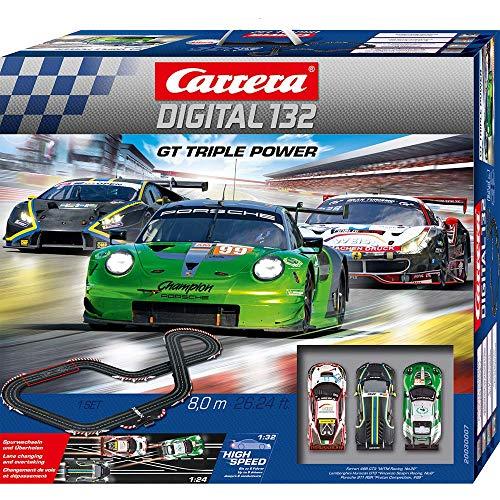 Carrera DIGITAL 132 GT Triple Power – Elektrische Autorennbahn │ Premium-Rennbahn für bis zu 6...
