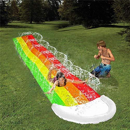 15 FT Rasen Wasserrutschen, Rainbow Slip Slide Spielzentrum mit Spritzsprinkler und aufblasbarem Crash...