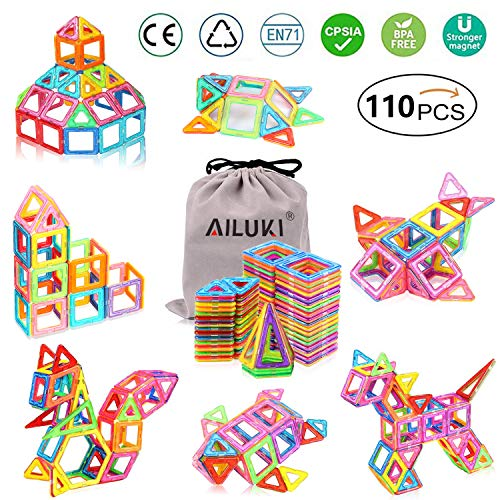 AILUKI 110 Pcs Magnetische Bauklötze Set Magnet Bausteine Konstruktion Blöcke DIY 3D Pädagogische...